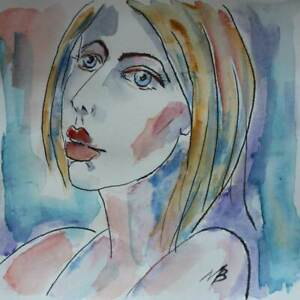 NB-Zartheit-Aquarell-20x20cm-Original-Portraet-Erotik-Person-art-deco-Unikat