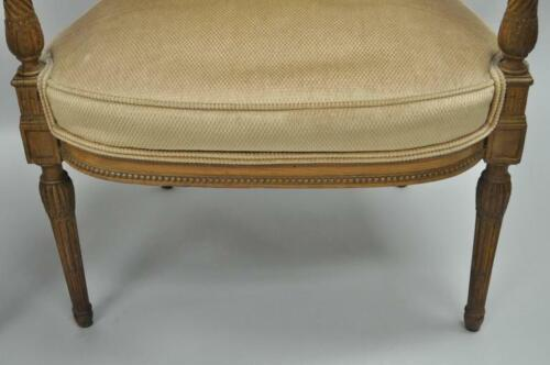 Pair Carved Walnut French Louis XVI Directoire Square Back Fireside Arm Chairs