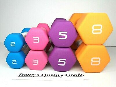 NEW!! - Total 36 Pounds CAP Hex Neoprene Dumbbell Weights Set 8 5 3 2 lbs