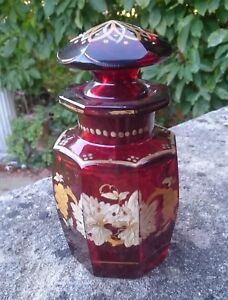 ANTIQUE-BOHEMIAN-VICTORIAN-EDWARDIAN-RUBY-GLASS-SCENT-PERFUME-BOTTLE-JAR