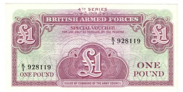 England BRITISH ARMED FORCES 1 Pound aUNC Banknote (1962) P- 36 K/1 Prefix