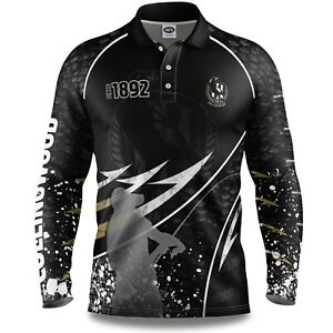 AFL-2020-Long-Sleeve-Fishing-Polo-Tee-Shirt-Collingwood-Magpies-Adult-Youth