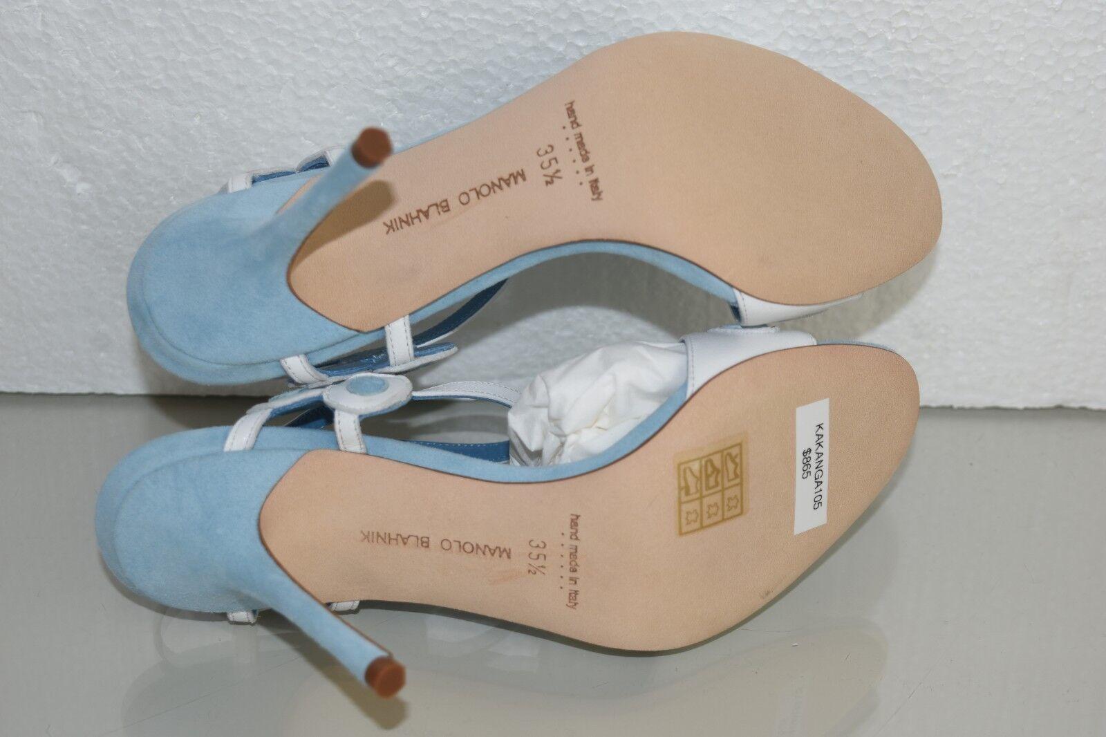 845 New Manolo Blahnik KAKANGA Blau Leather Sandals Blau KAKANGA Weiß schuhe 36 37 38.5 41 8abe48