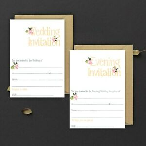 WEDDING-INVITATIONS-BLANK-PEACH-BLUSH-WATERCOLOUR-amp-PINK-ROSE-PACKS-OF-10