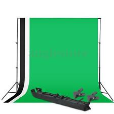 3 x Background Photography Studio Screen Muslin Backdrop Photo Black+White+Green