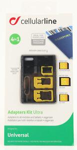 Cellularline 4in1 Adapter Set Nano-SIM Micro-SIM SD Karten Nadel Organizer 165