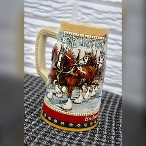 Vintage-1988-Anheuser-Busch-Budweiser-Holiday-Stein-Mug-Christmas-Clydesdales