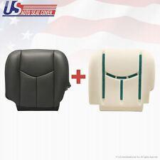 2003 -07 Chevy 3500 HD Driver Bottom Vinyl Seat Cover and Foam Cushion Dark Gray