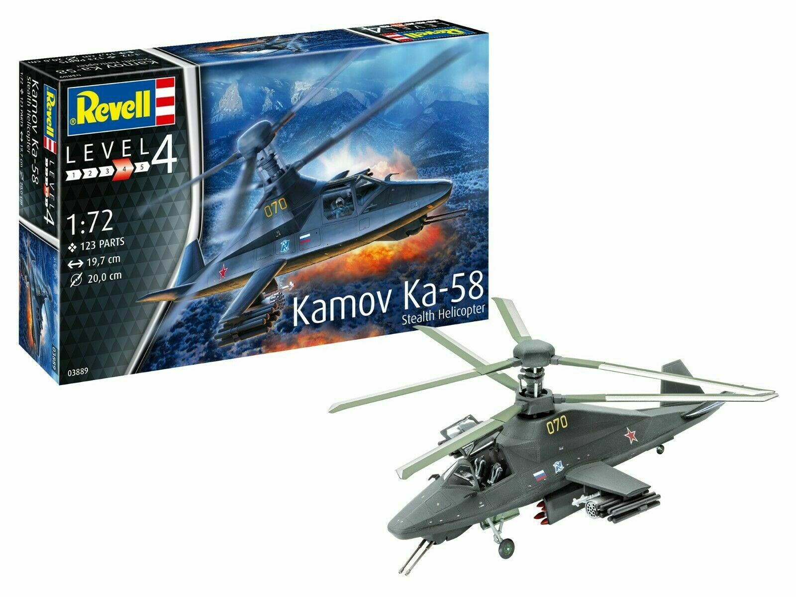 Revell 03889 Helikopter Kamov Ka -58 Stealth Helikopter Kit 1 72 Ny
