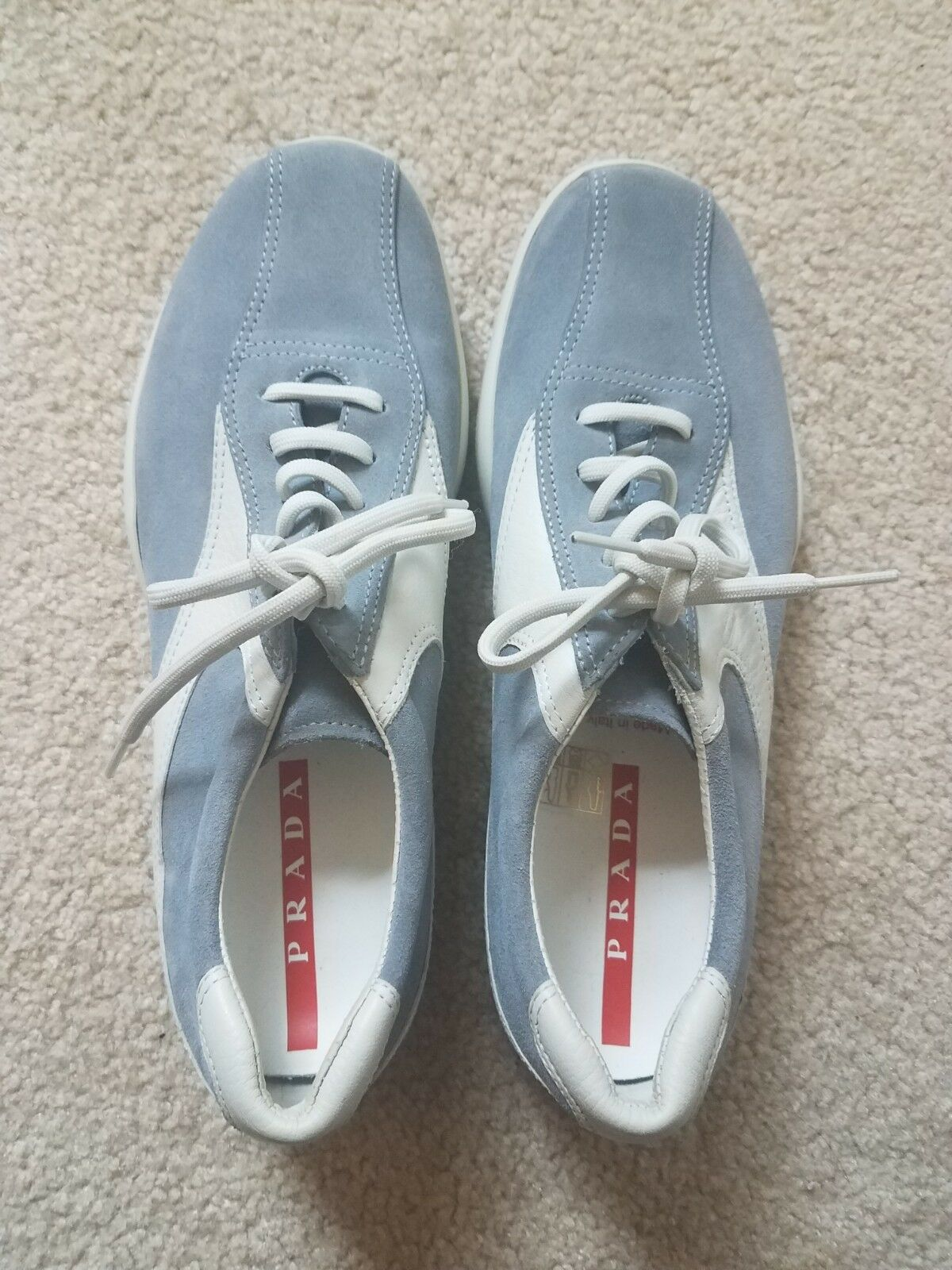 Womens' Prada Sneakers, bluee and White Leather, Mint Condition