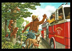 942-Postcard-Smokey-Bear-High-Five-Fire-Protection-US-Forest-Service-New