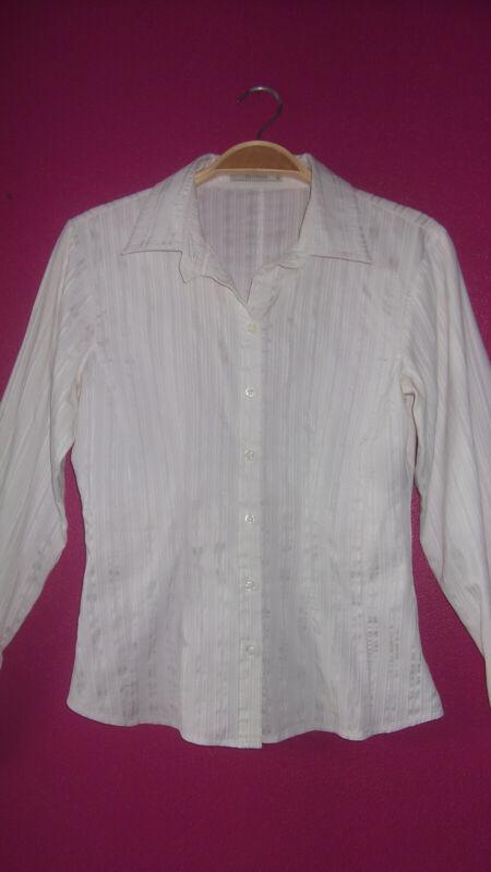 *green House* Schöne Stretch Bluse Gr.36 Weiß Mit Glanz-web-streifen *top* Attraktive Mode