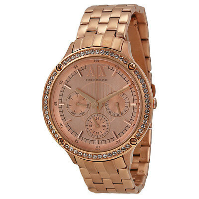 Armani Exchange Multi-Function Rose Dial Rose Gold-plated Ladies Watch AX5406