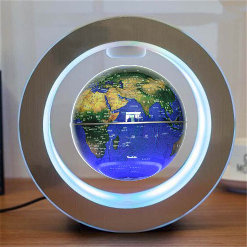 Magnetic Levitation Floating Globe LED Light World Map Rotate Planet Earth Round