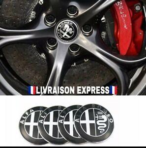 X4-Logo-Sticker-metal-embleme-Jante-roue-Pneu-Alfa-Romeo-Metal-noir-et-argent