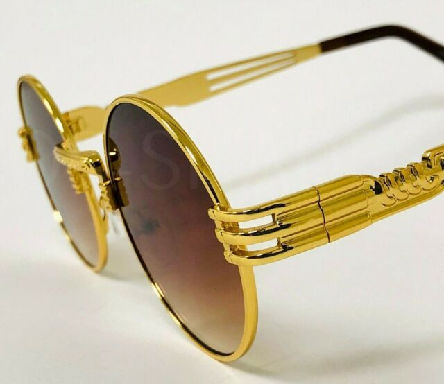 Hip Hop Pilot Aviator Sunglasses w// Gold Trim