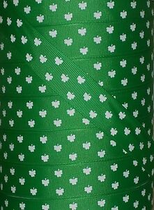 "PADDY/'S DAY SHAMROCK CLOVER GROSGRAIN RIBBON SAINT PATRICK/'S DAY 5 yds 7.8/"" ST"