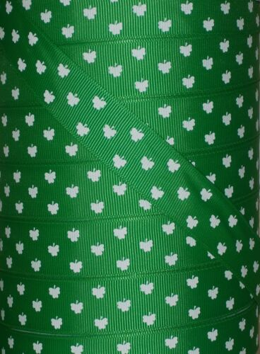 "5 yds 7.8/"" GREEN ST PADDY/'S SHAMROCK CLOVER GROSGRAIN RIBBON SAINT PATRICK/'S DAY"