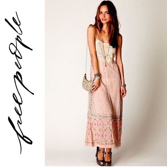 Free people whimsical wide leg jumpsuit fairycore - image 2