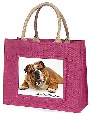 Bulldog 'Liebe dich Oma' Große Rosa Einkaufstasche Weihnachten Prese,