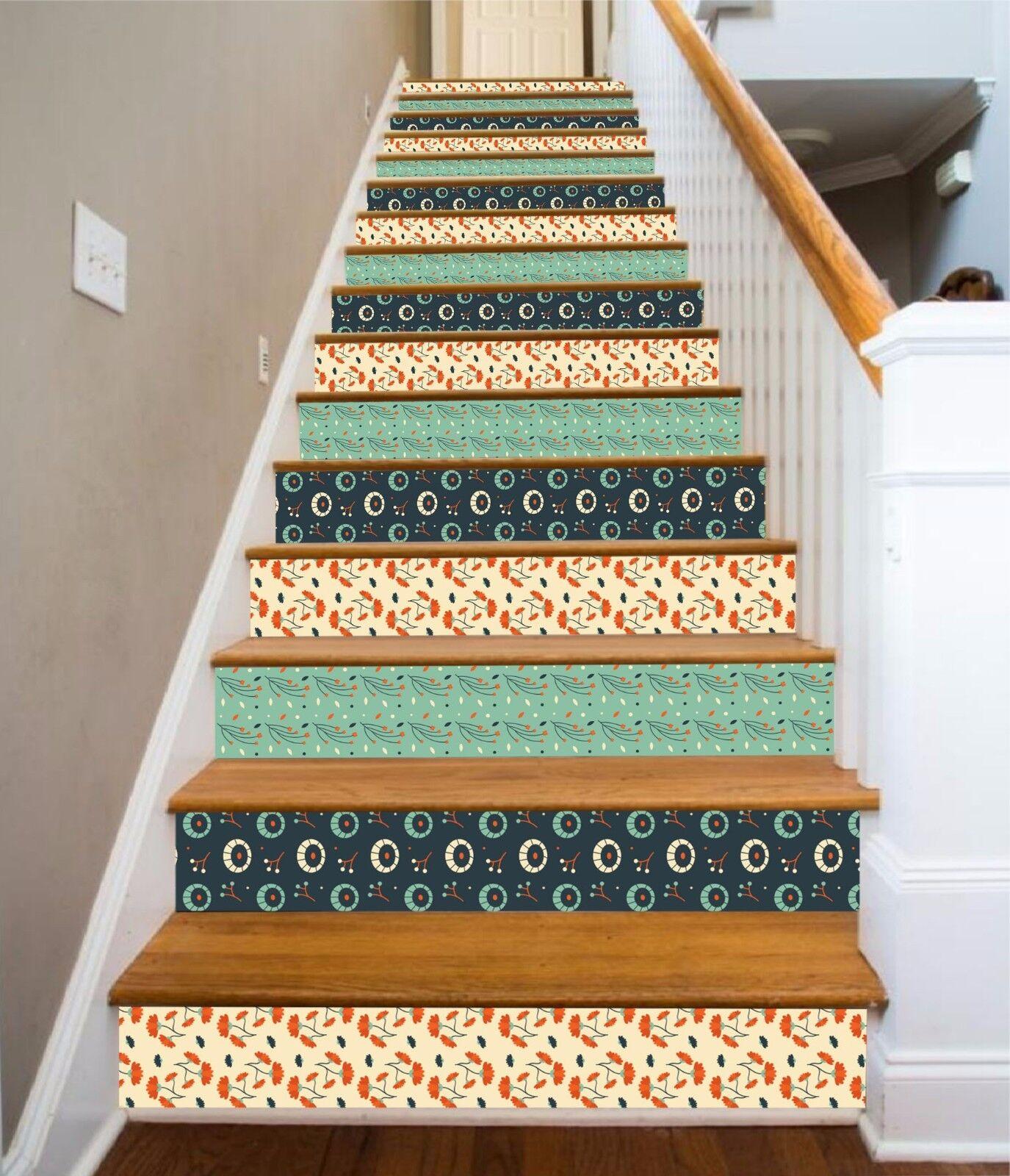 3D Florale Muster 1 Stair Risers Dekoration Fototapete Vinyl Aufkleber Tapete DE