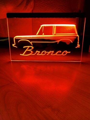 FORD BRONCO TRUCK LED NEON RED LIGHT SIGN 8x12