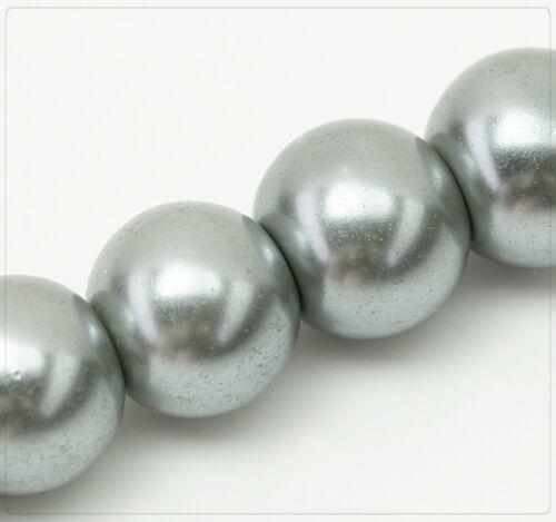 40x Glaswachsperlen Rund Schmuck Basteln Perlen DIY Farbwahl Glanz 10mm