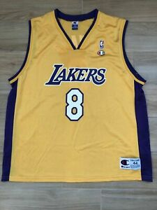 Details about Vintage Champion NBA Los Angeles Lakers Home Kobe Bryant #8 Jersey Gold size 44