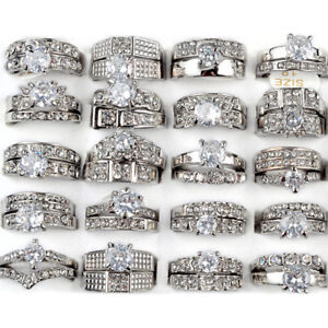 5-x-Women-Silver-Stainless-Steel-Wholesale-Bulk-Lots-Mixed-Crystal-Rings-Jewelry