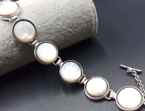 16 mm Blanc Naturel Abalone Shell//nacre Barres 18KGP Bracelet