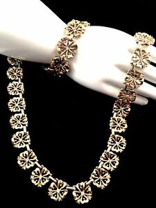 1949 TRIFARI GOLD-TONE CRYSTAL RHINESTONE 4 LEAF CLOVER NECKLACE BRACELET SET