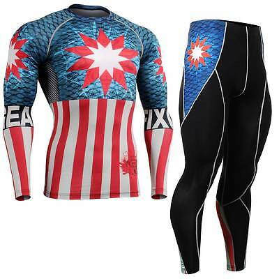 FIXGEAR CFL/P2L-B37 SET Compression Shirts & Tights for Workout MMA Training