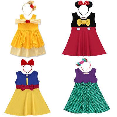 Childs Kids Girl Cartoon Minnie Mouse Party Cosplay Dress Sleeveless Fancy Dress