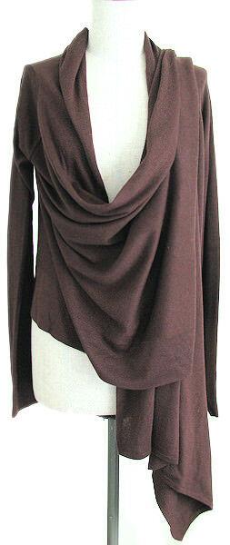 BCBG MAXAZRIA Silk + Wool Beautiful Brown Wrap Cardigan Almost Gone