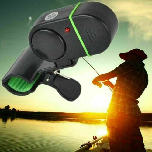 New 4X Electronic Fish Bite Alert Alarm LED Light Bell Fishing Clip Rod Pole FF