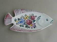 grosse Fischplatte Schale Gmundner Keramik Blumendekor auch Wandteller Wandbild
