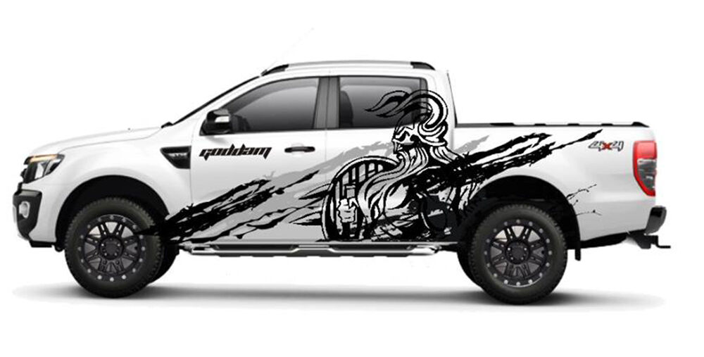 Matt Matte Black Viking Wild Design Sticker Ford Ranger T6