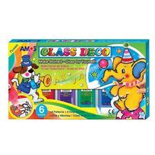 *NEW* AMOS Glass Deco Window Decoration Art Paints 22ml x 6 Colours - Craft Kits
