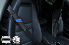2X FOR BMW M STRIPES BLACK LEATHER BLUE STITCH LUXURY SHOULDER SEAT BELT PADS