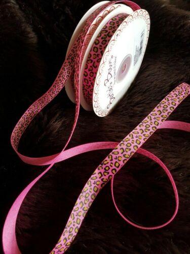 Var colours Bertie/'s Bows LEOPARD PRINT grosgrain ribbon 9mm /&16mm lengths
