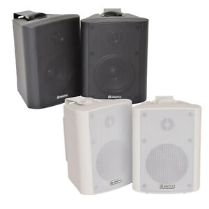4-034-2-Wege-Kompakt-Stereo-HiFi-Lautsprecher-70W-Paar-Home-Mini-Wandhalterung-ABS