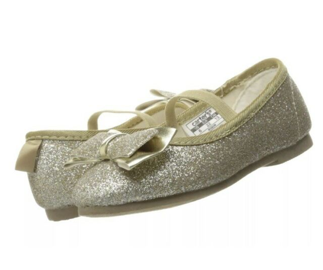 ef4c30cc27f3 Carter s 6T Gold Big Bow Dress Shoes Ballet Flats Toddler Girl Size 7 NEW