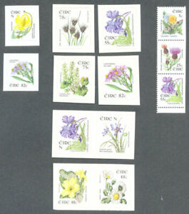 Ireland-Flowers-series-booklet-and-self-adhesives-complete-mnh