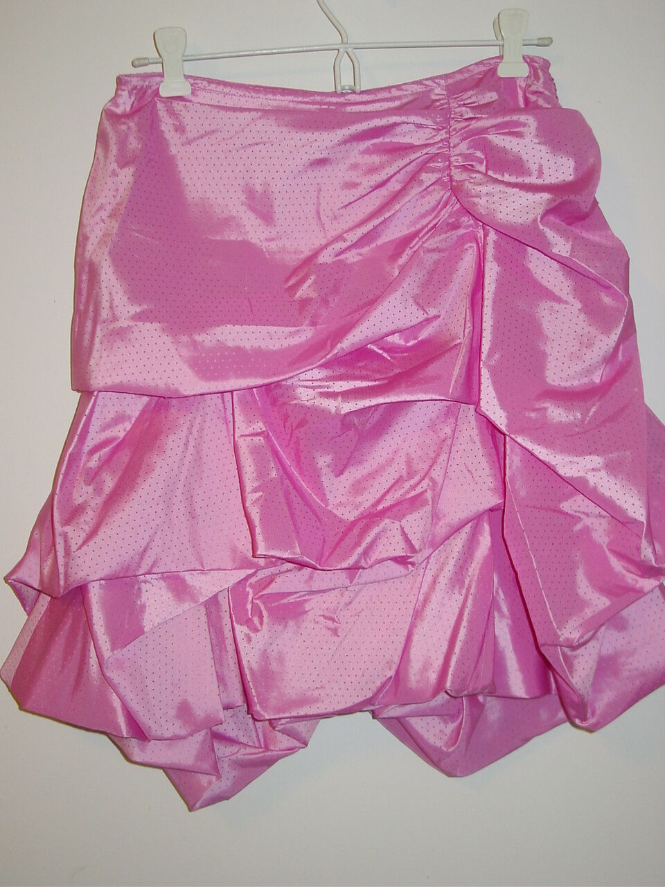 Samuel Dong Women's pink bubble skirt gathers lined slippery-S-NWT- 149.00
