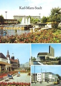 "AK, Karl-Marx-Stadt, 4 Abb, u.a. Hotel ""Kongress"", 1989"