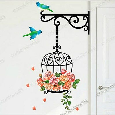 Large Colorful Bird Cage Flower Wall Stickers Removable Vinyl Decal Decor Paper