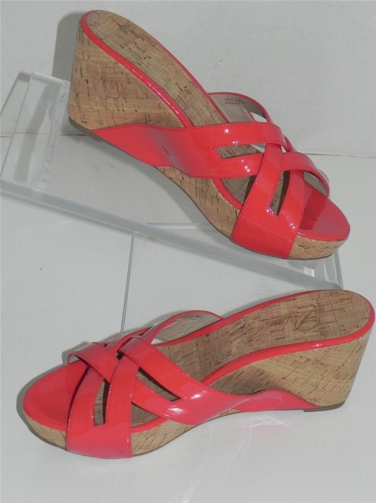 Delman Carla Coral Patent Leather Platform Wedge Sandals 9