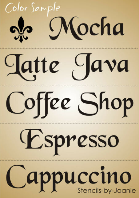 5 pc Design Joanie Stencil French Latte Mocha Java Espresso Fleur Kitchen Cafe