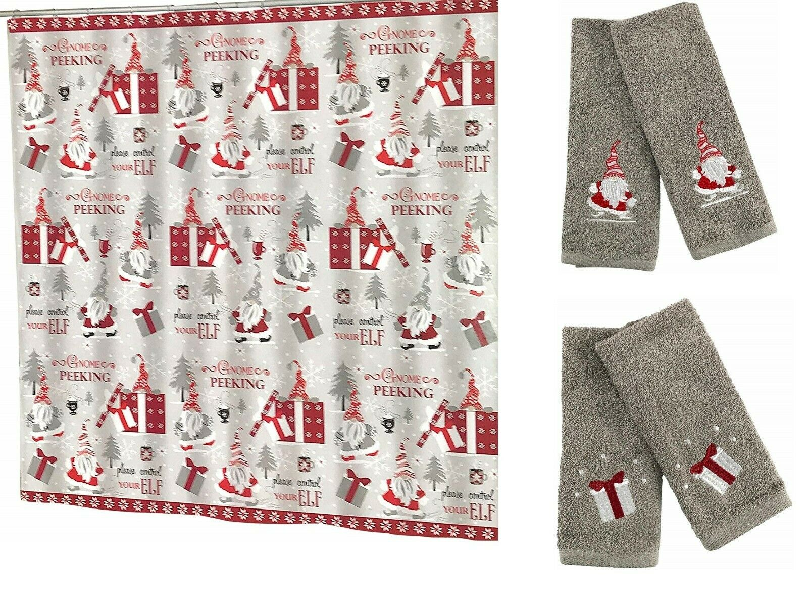 Christmas Gnomes Fabric Shower Curtain Hand Towels Fingertip Bath Towels