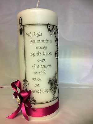 WEDDING MEMORIAL CANDLE W RIBBON ALICE IN WONDERLAND DIAMANTE & PEARL HEART